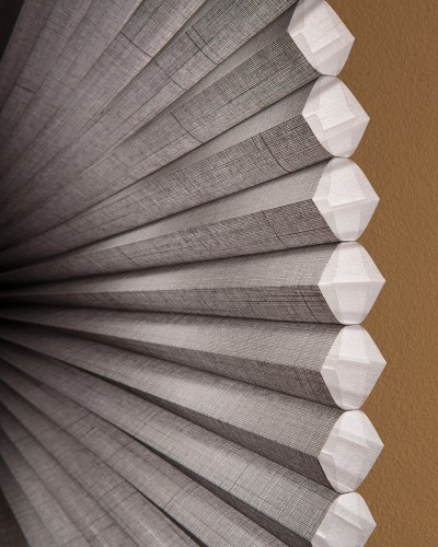 Duette® Architella® honeycomb shades opened