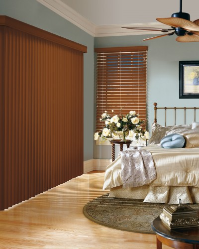 Crosswinds® Wood Vertical Blinds with Chain Tassel & Cord Tensioner