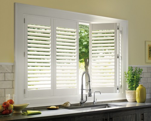 Palm Beach™ polysatin shutters with TruView™ Rear Tilt